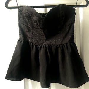 Strapless black top